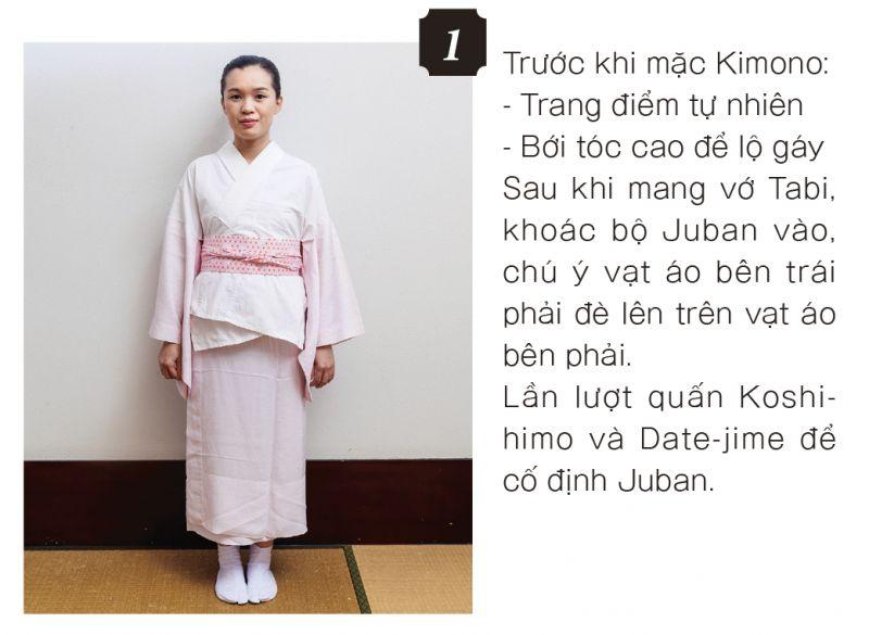 cách mặc kimono bước 1
