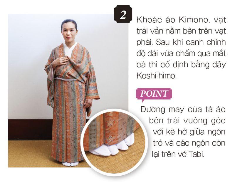 cách mặc kimono bước 2