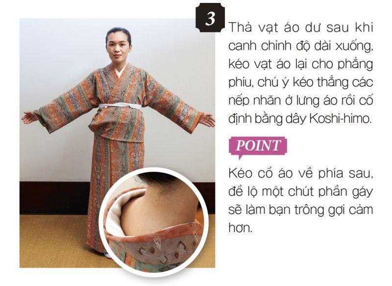 cách mặc kimono bước 3