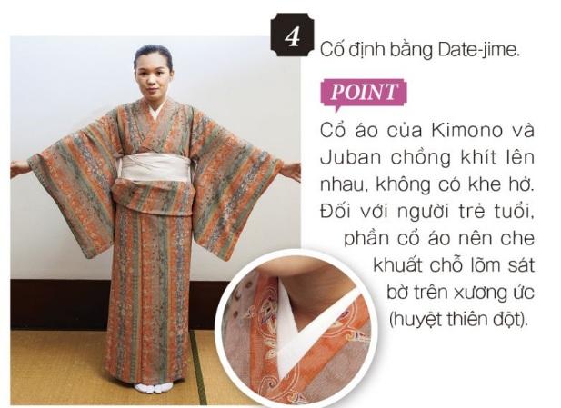 cách mặc kimono bước 4